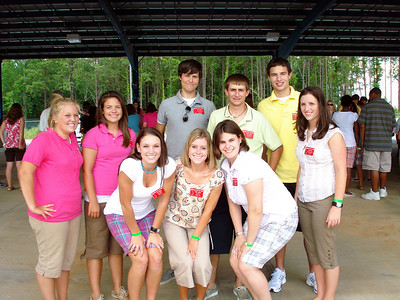 Students pose for camera during a break at teambuilding games at Coweta-Fayette EMC. L-R back row: Kylie Webb (Snapping Shoals), Zellie Duvall (Rayle), Nick Widener (Coweta-Fayette), Robert Todd (Coastal), John Michael Mezzanotte (Cobb) and Dana Freeman (Southern Rivers). L-R Front Row: Keeli Rigdon (Satilla), Abby McAbee (Upson) and Amy Stanley (Washington).