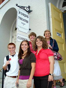 Students outside Fords Theatre L-R: Tyler Heck (Flint), Margo Braski (Flint), Stuart Gillory (Flint), Hillary Thornton (Okefenoke) and Katie Comer (Carroll).