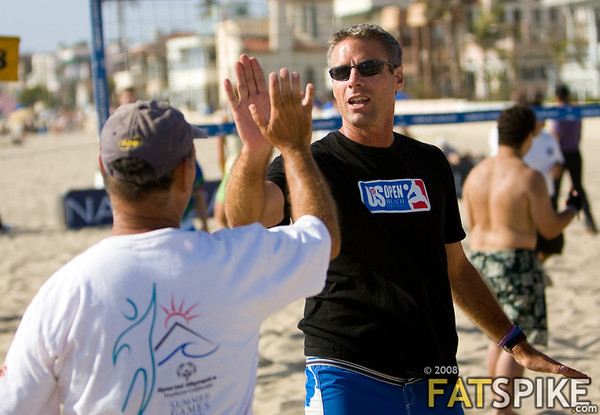 Karch hi-fives a Special Olympian