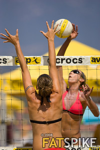 Jenny Kropp tries to shoot past the block