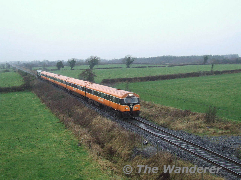 6103 leads the 1310 Galway - Heuston near Portarlington on a wet and miserable Saturday 19th January 2008
