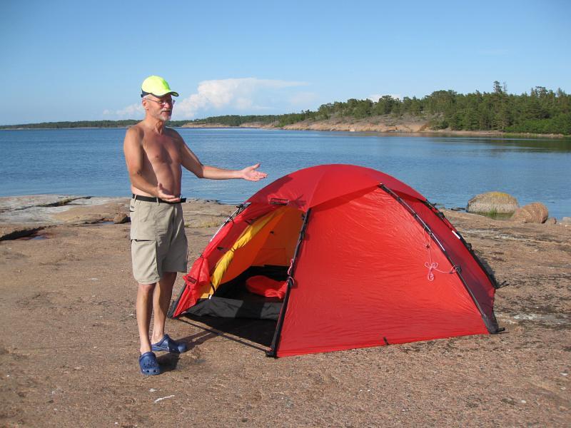 Lars med sitt nya tält