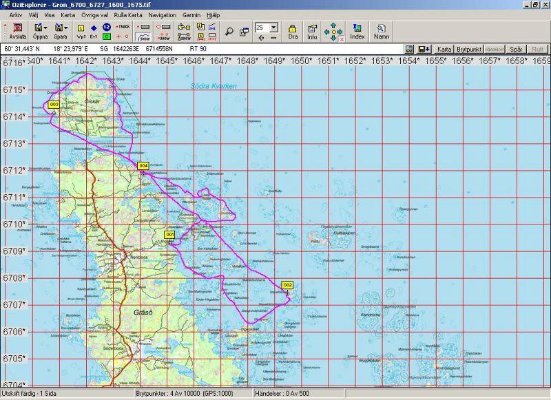 080510-11  Fåglar på Örskär, spåret vi paddlade  35 km. Ledare Anna, Klasse, Kjelle och Anita