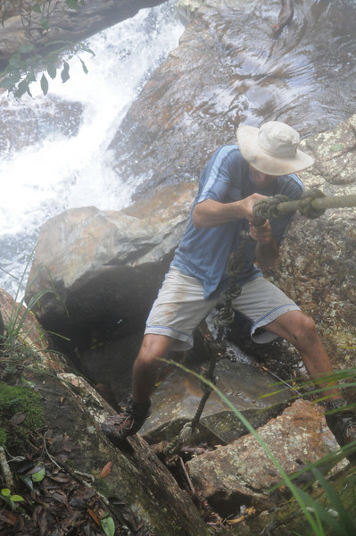 Steve, climbing out of Gold Ck Falls