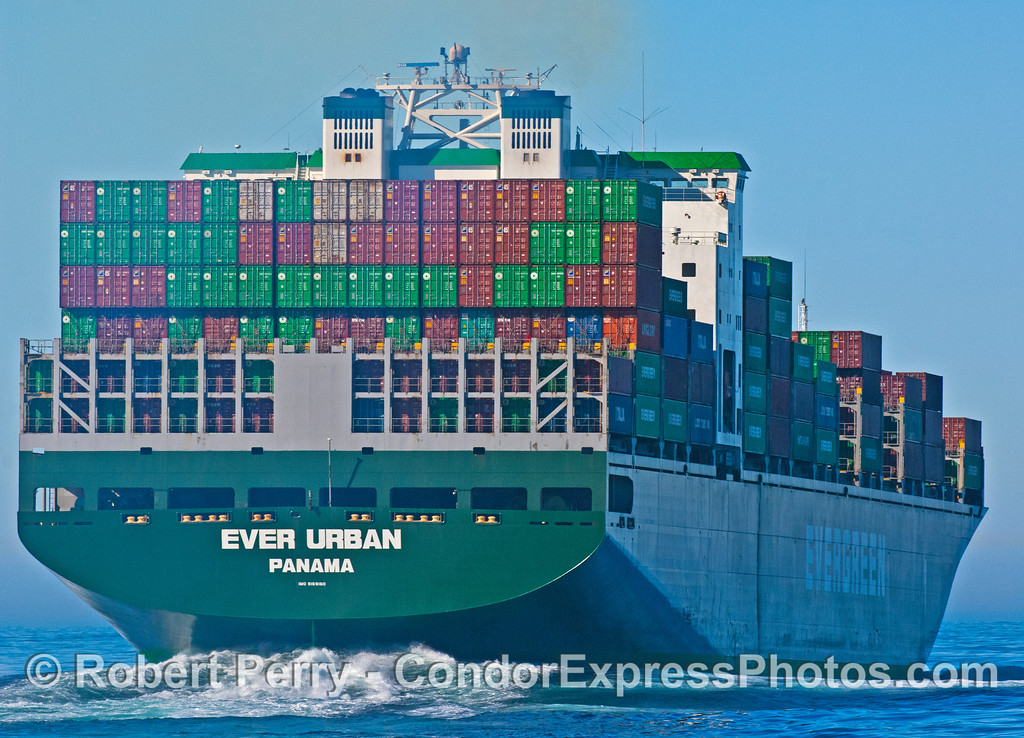 container vessel Ever Urban stern view 2008 01-13 SB Channel -045