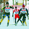 Citizen photo by David Mah #143, Michael McMillan, left, #142, Adam Doogan-Smith, and #144, Ryan Chapman head up one of the hills in the Senior Mens 15km Free Technique race Sunday at the Caledonia Nordic Ski Centre. The races were part of the 2008 BC Cup #1 in Prince George.