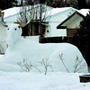 Citizen photo by Brent Braaten A moose sighting in the 300 block of Burden Street. This one was carved out of snow with the antlers added.