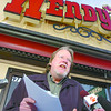 Citizen photo by Brent Braaten  Jim Sinclair president BC Federation of Labor holds a press conference infront of Wendy's on central to talk about B.C. minimum wage.
