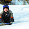 Citizen photo by Brent Braaten Marco Pandolfo, 5, makes some fresh tracks on Carney Hill Wednesday afternoon. Sliding conditions are excellent with the fresh snow.