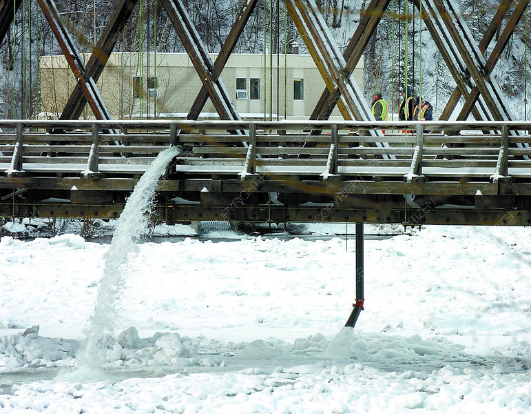 Citizen photo by Brent Braaten Warmer water is pumped into the Nechako River Wednesday morning. Pumping began Tuesday evening.