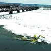 Citizen photo by Brent Braaten The Amphibex works on the ice at the confluance of the Nechako and Fraser River.