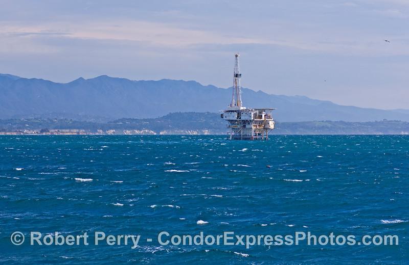 oil platform Holly on windy seas 2008 02-23 Sta Barbara -- 1014