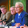 Citizen photo by David Mah Premier Gordon Campbell, right, Minister of Energy and Mines, Richard Neufeld, Minister of Forests Rich Coleman, and Minister of Agriculture Pat Bell (far right) announce the Bioenergy plan.