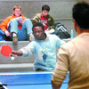 Citizen photo by David Mah UNBC finance student Ibrahim Usman returns a shot to accounting student Shawn Sarker, in a ping pong game played daily in the atrium.