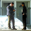 Citizen photo by David Mah A RCMP constable speaks to the caretaker of Pine Valley Estates on Wiebe Road after a break and enter Monday morning. Two other attempts failed before the third B and E.