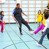 Citizen photo by Brent Braaten Sipho Sibiya works with grade three students at Ron Brent elementary Tuesday morning. Ron Brent elementary in partnership with th Prince George Youth soccer Association and the British Columbia Soccer Association hosted the 'Kickin' Soccer' program February 19th- March 4th. A wonderful oppertunity for inner-city children to learn the spot of soccer from local coaches.