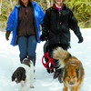 Citizen photo by David Mah Sandra Einfeldt, left, and Patricia Dyck walk their dogs  Tammy, left,  Turbine, and Moka on the Forest for the World Trails. Packed trails made for a good snow hike.