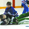 Citizen photo by David Mah Kaitlyn Bote, #15, of the Team Saskatchewan Tweens collides with Alyssia Batey of Team Alberta.