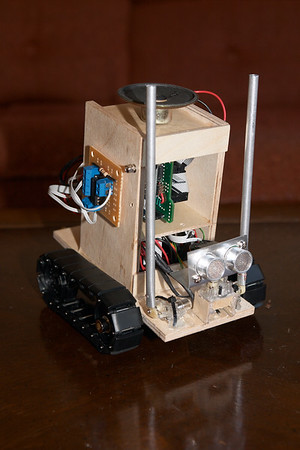 The final robot. Motor driver on the right side