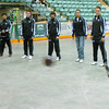 Citizen photo by Brent Braaten Members of the Prince George Football club kick the ball around inside of CN Centre Wednesday morning. The indoor turf will be going down Friday in preperation for this weekends Soccer Showcase.