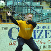 Citizen photo by Brent Braaten Jim Swanson has a ball go by as he plays goal tender during intermision Saturday night.