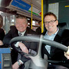 Citizen photo by David Mah MLA Shirley Bond, City of Prince George Colin Kinsley, and Transportation Minister Kevin Falcon try out a City bus after Falcon's announcement.