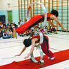 Citizen photo by David Mah As part of Arts and Culture Week in School District 57 Peden Hill Elementary brought in 4 Chinese acrobats to perform for the students. 180 students were enthralled by Li Feng, bottom, and Zhang Meng and their acrobatic acts. The troup is touring western Canada then returning to Los Vegas.