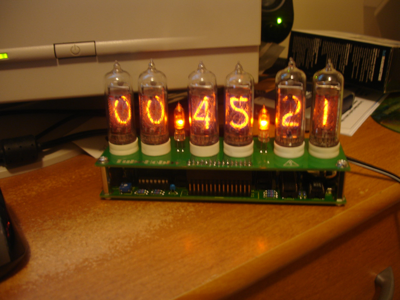 It works! (For some reason -- to save money, presumably -- Russian Nixie tubes use an upside-down '2' for the '5' digit)