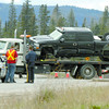 Citizen photo by Brent Braaten Two pick-up trucks are loaded onto flat decks at the scene of a collision on highway 16 west past Beaverly Road West Tuesday afternoon.