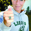 Citizen photo by Brent Braaten Lindsey Dyck with her NCAA Conference championship ring she won first junior year at Southeatern Louisiana University.