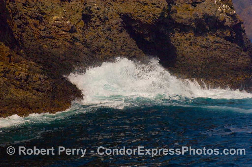 wave against sea cliffs 2008 07-26 Sta Cruz Island_002mod