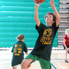"""Citizen photo by Brent Braaten Austin Langer, 9, goes up for a lay-up during the UNBC Athletics youth summer basketball camps sponsored by The Citizen and Brownridge Insurance. They go this week from 9-4pm at the UNBC Northern Sport Center. The next camps are  August  5th -8th,  grades 3-6 are 9-noon and Grades 7-10  are11-4pm. There are spaces available in all camps and registration can be found on  <a href=""""http://www.unbc.ca/athletics"""">http://www.unbc.ca/athletics</a> or by calling 250-960-6366"""