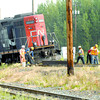 Citizen photo by Brent Braaten An CN engine off the tracks in the CN South Yard Wednesday morning. The derailment happened arounf midnight Tuesday.