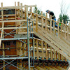 Citizen photo by Brent Braaten A carpenter with WIC does form work at the new Duchess Park school Friday afternoon.
