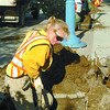 Citizen photo by David Mah City of Prince George arborists Karen Davison, Bob Elmore, and Keith Stibrany dig holes on 3rd Avenue to plant swedish aspens. Black ash trees were previously planted but dies from insects specific to ash.
