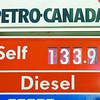Citizen photo by David Mah Gas prices were dropping all day Thursday. Petro-Canada on 20th Avenue was $1.33.9 at 5:30.