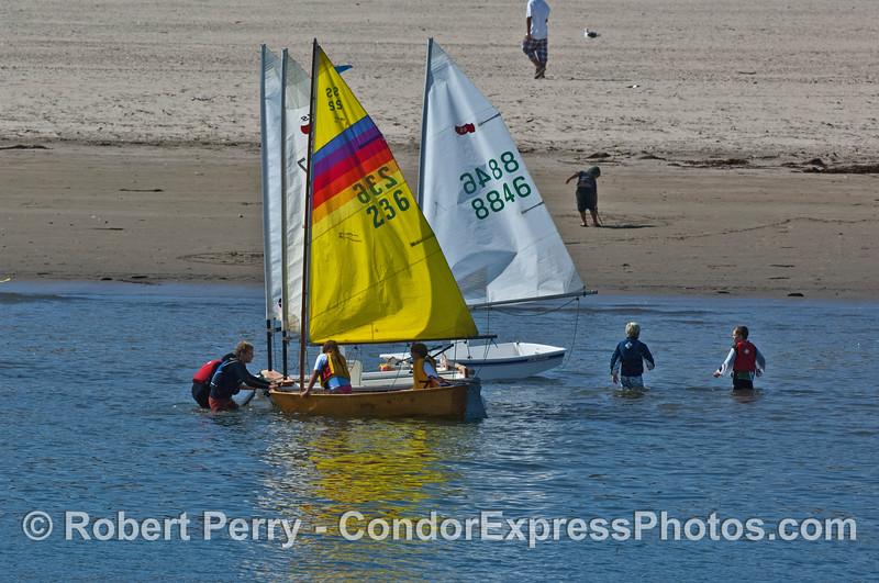 small sailboats & kids near sandspit 2008 10-12 SB Harbor - 3165