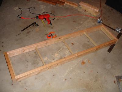 Frame for the lower shelf assembled