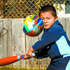 Citizen photo by Brent Braaten Malachi Mueller, 3, keeps his eye on the ball as he and his aunte enjoyed the warm weather at Harper Park Tuesday afternoon.