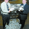 Citizen photo by Brent Braaten Rick Nelson Pince Centre Mall General Manager and Hugh Nicholson, Publisher Prince George Citizen with entrys from Shop Free.