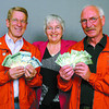 Citizen photo by David Mah Gord Jarabek, left, Donalda Carson, executive director of the Prince George Hospice Society, and Mike Tataryn, show some of the $632.00 that was raised at the Cruisin Classics year-end dance for Hospice.