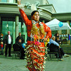 Citizen photo by Brent Braaten Tracy Peters a jingle dress dancer with the Rainbow Dancers does a welcoming dance Saturday at the Court House during the Sisters in Spirit Vigil.