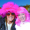 Citizen photo by Brent Braaten Haley Dube and Catherine Calogheros sport some pink hair while taking part in the CIBC Run for Cure at UNBC Sunday morning.