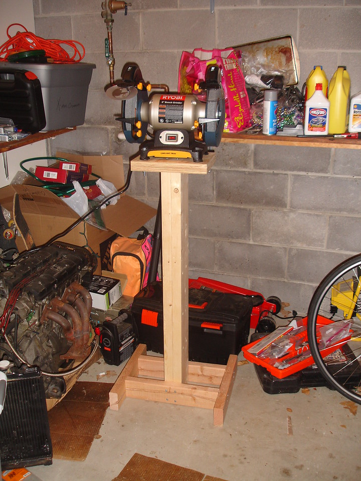 """A low-end 8"""" bench grinder and homemade pedestal"""