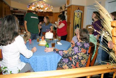 Margie eating with the very extended family, 5 Mrs. Gunnerson's in the room