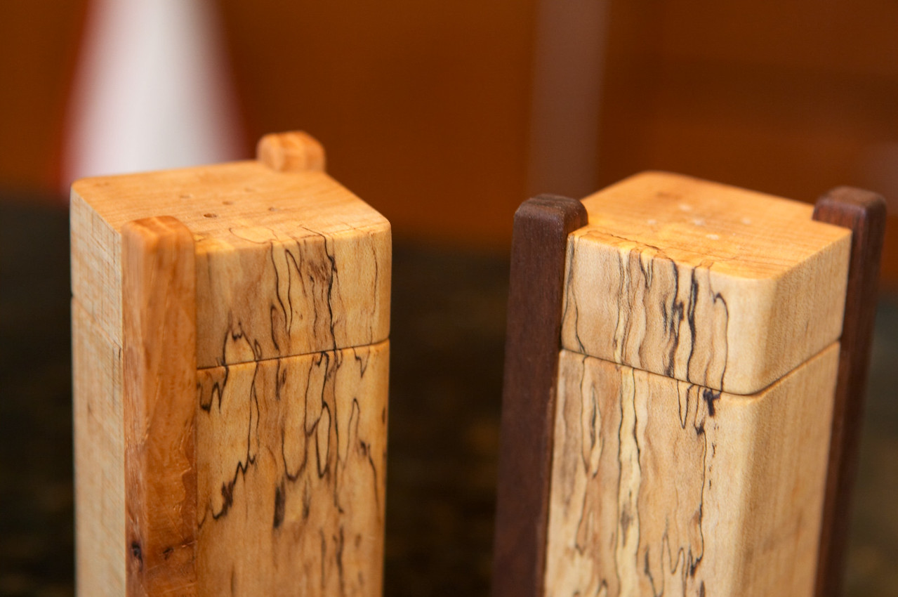 The salt & pepper shakers are also spalted maple