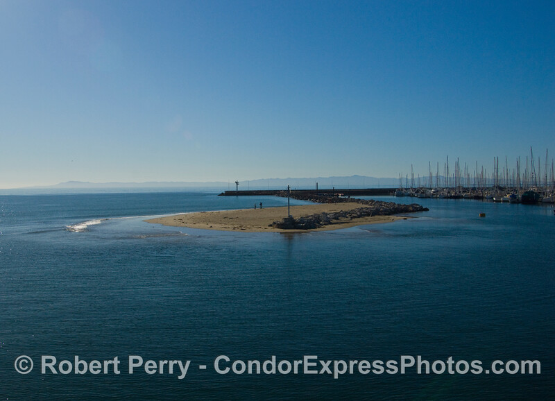 The Sandspit, Santa Barbara Harbor, with Santa Cruz Island in the distance.