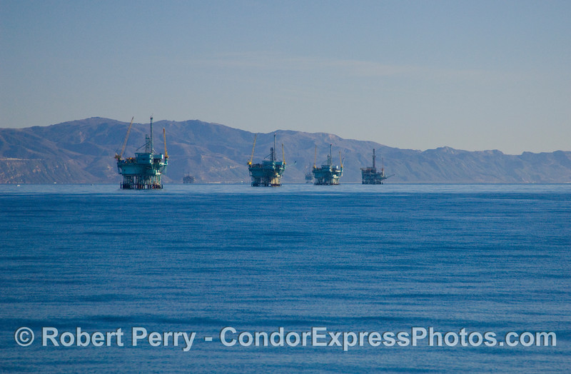 Oil Platforms C, B, A, and Hillhouse in the Santa Barbara Channel.