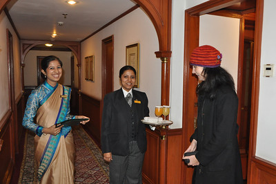 Another pleasant surprise: As the kind hostess who received us took us directly to our room upon arrival, the butler was awaiting us with refreshments at the door.  Thank you Anshul (Rajv's friend from high school) and friend Manish (they studied hotel management together). Anshul worked at Oberoi Hotels in India for many years (He is now with The Four Seasons Hotels). Manish is with the Taj Group of Hotels.