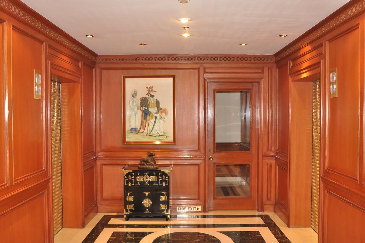The elevators at the Taj Mahal hotel in New Delhi